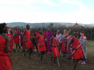 Maasai dancing at village