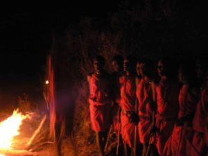 Maasai warriors in the shadows