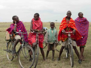 Maasai youth and bicycles