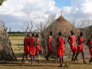 Wariors dancing in a boma