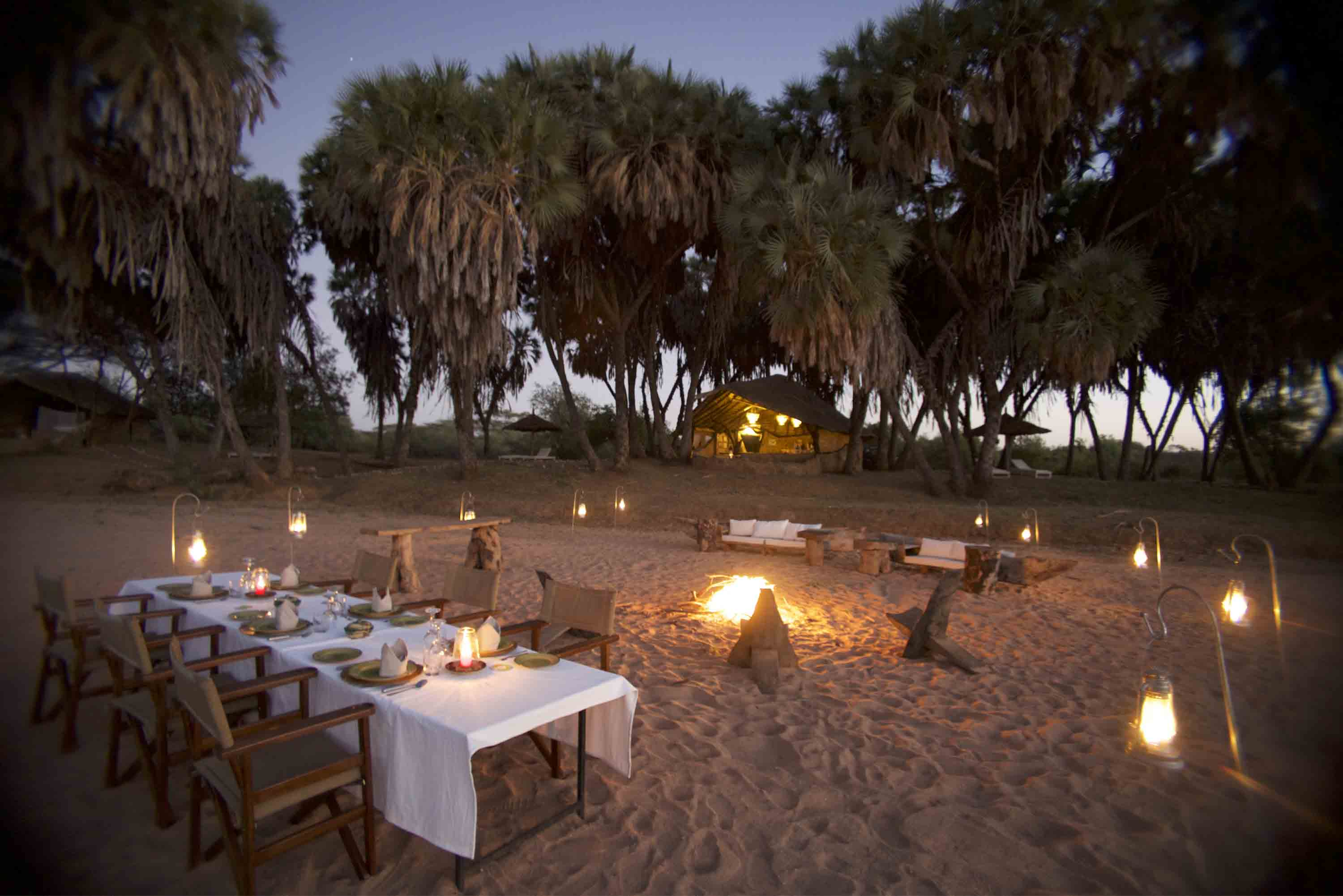Dinner by the dry river bed at Saruni Rhino