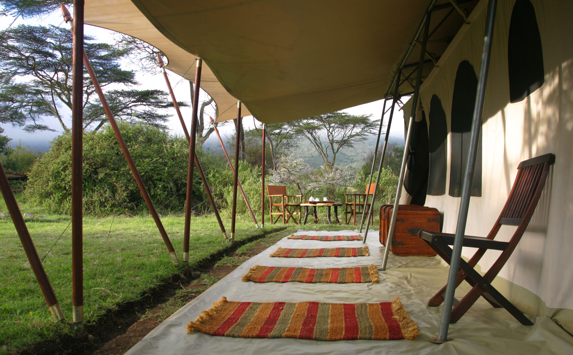 Family tent verandah and table setting at Saruni Wild
