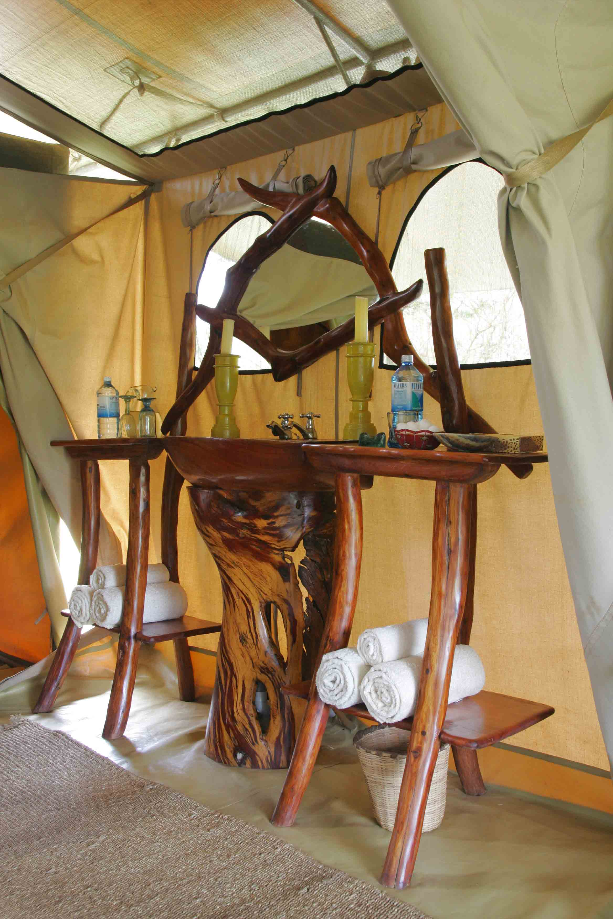 Hand crafted rose wood sinks inside Saruni Wild tents