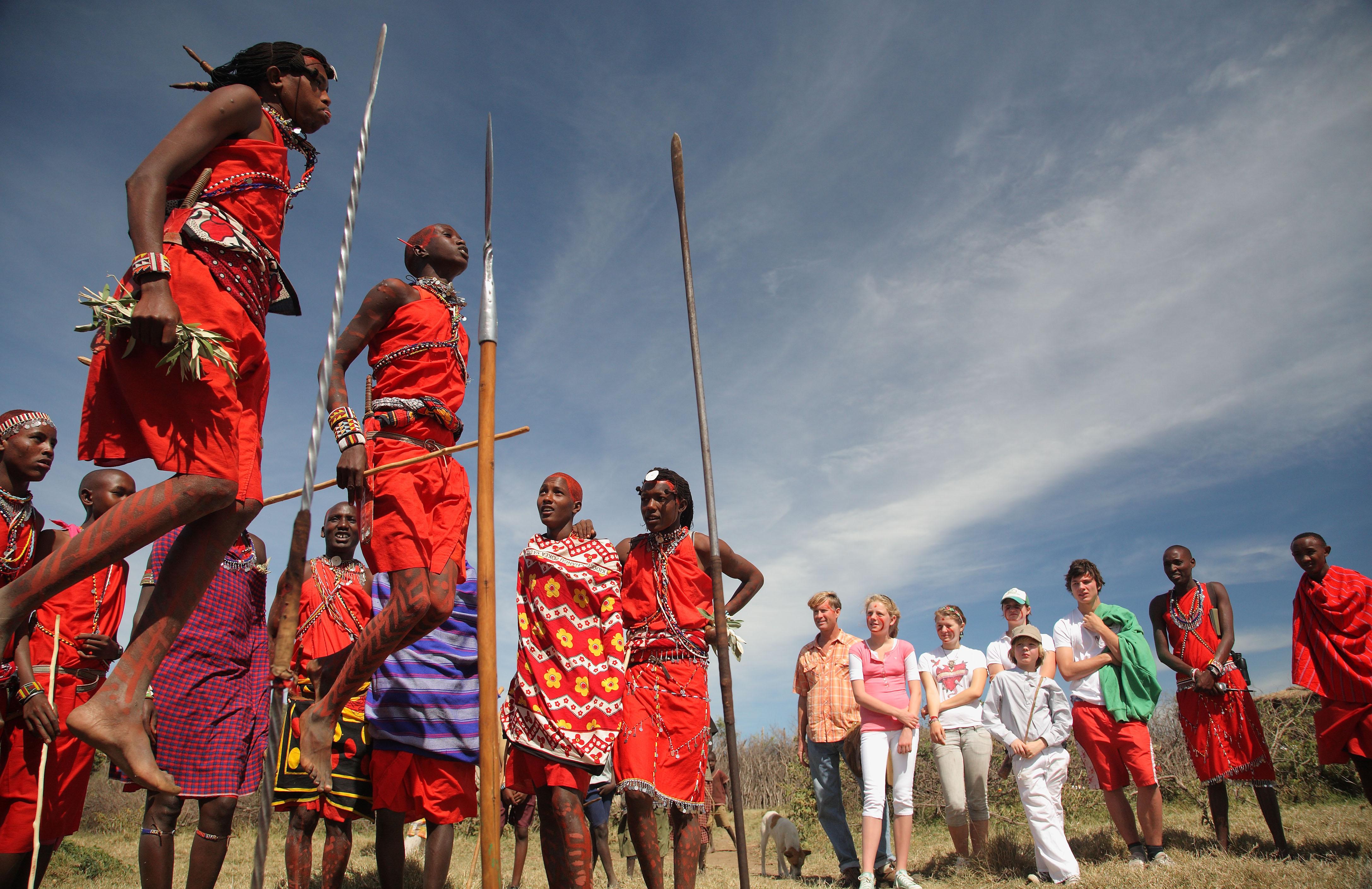 Jumping Maasai warriors