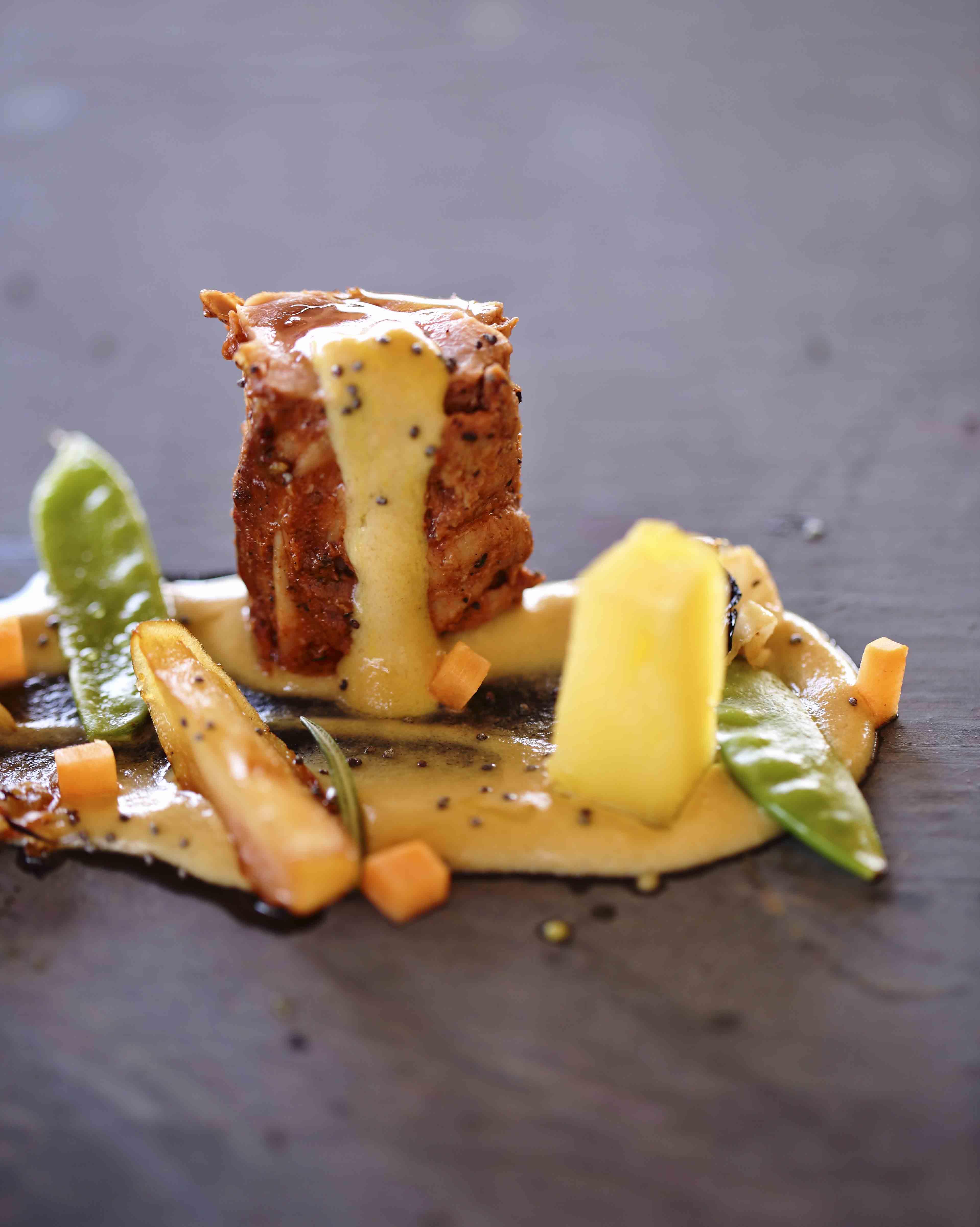 Pork loin with homemade honey mustard mayo potatoes confit pumpkin cubes and green 2