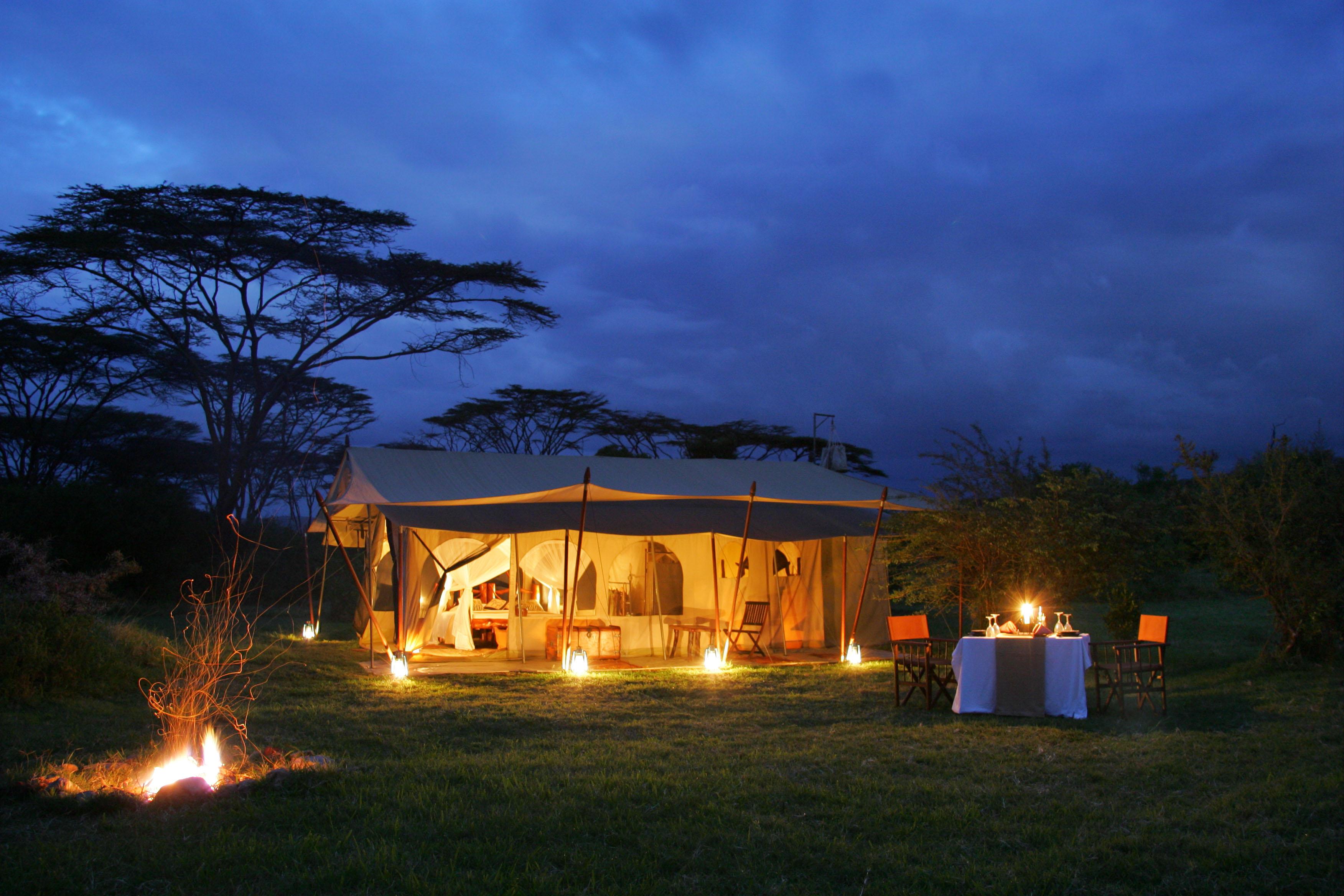 Saruni Wild - standard tent at night